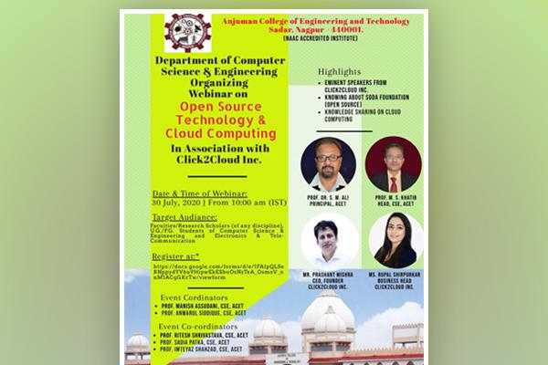 Open Source Technology Webinar at Anjuman College of Engineering & Technology, Nagpur